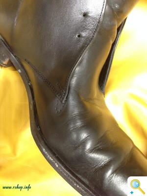 履き口と革ギレ