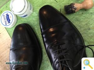 WAXを使った黒靴のお手入れ