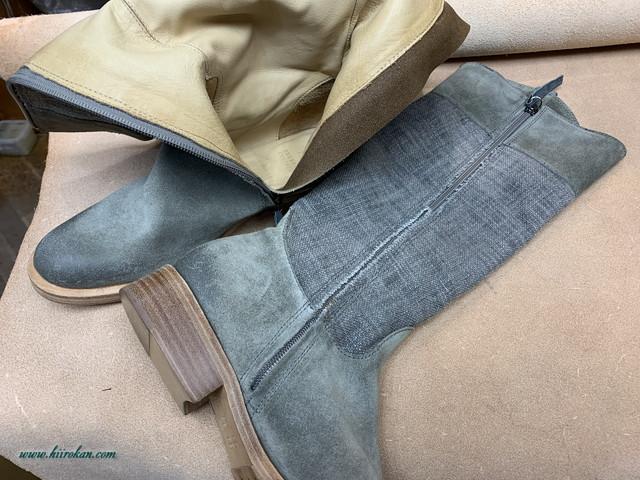 婦人ロングブーツにファスナーを取り付ける